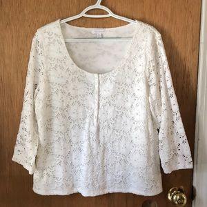 Long sleeved eyelet blouse with nylon lining